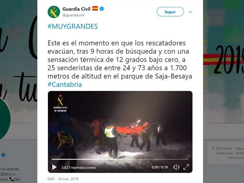 Rescate de 25 senderistas gallegos en un monte de Cantabria